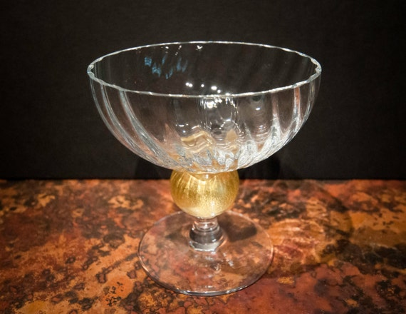 Hand Blown Glass Dessert Compote with 24K Gold