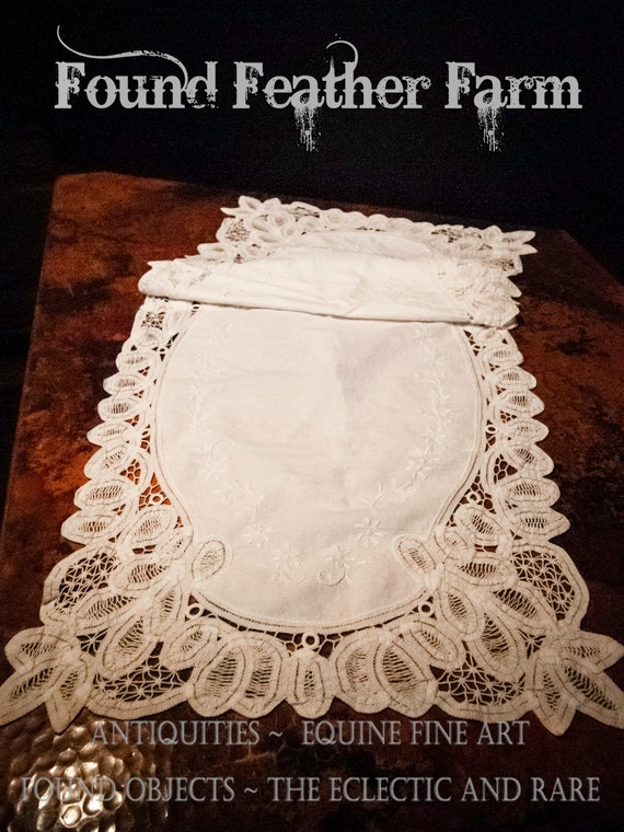 Vintage White Open Cutwork Embroidered Lace Runner Princess Anne Style Lace