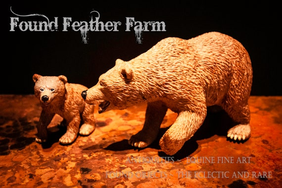 Resin and Rubber Brown Bear Mother and Cub