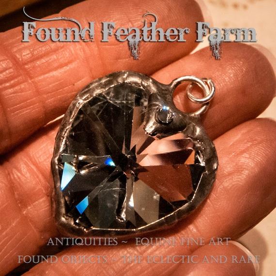 Handmade Soldered Crystal Silvered Heart Pendant