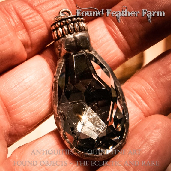 Handmade Soldered Silver Crystal Teardrop Pendant with Pewter Patina and Silver Ribbed End Cap