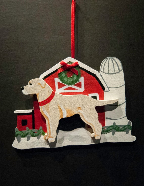 Yellow Lab and Barn Holiday Ornament