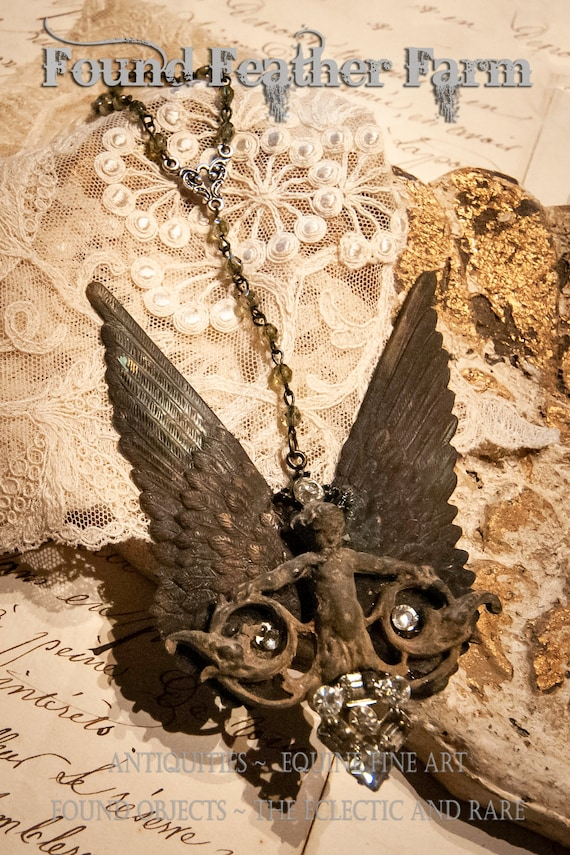 Vintage Bronze Winged Cherub Ornament with Vintage Rhinestones and Glass Czech Bead Chain
