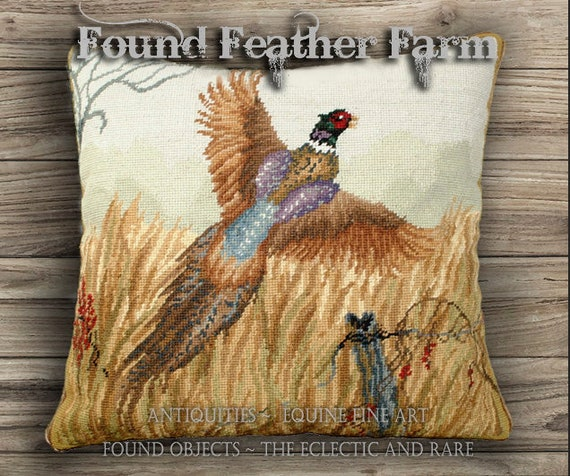 Handmade Needlepoint Pillow with a Pheasant in Flight and a Down Insert