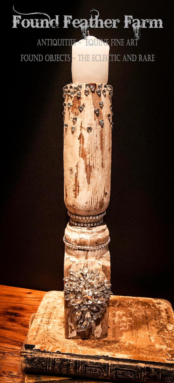 Large Antique Jeweled Balustrade Candlestick with Candle