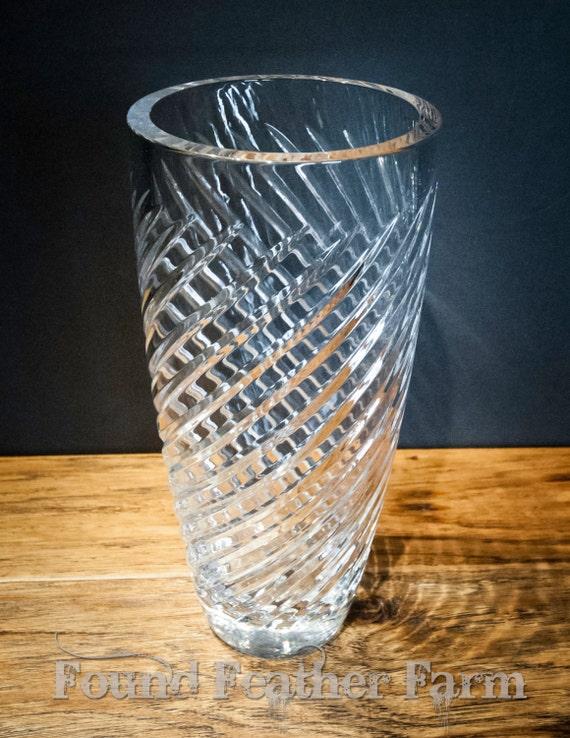 Heavy Vintage Reidel Lead Crystal Swirl Vase