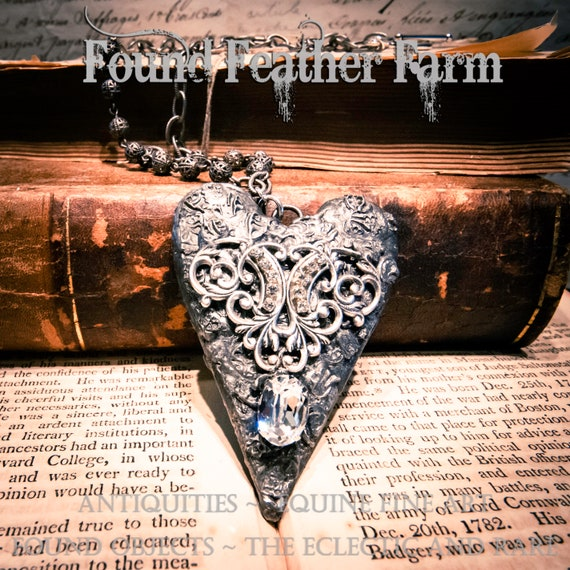 Beautiful Handmade Gilded Solder Heart Necklace with Silver Ball Chain Necklace