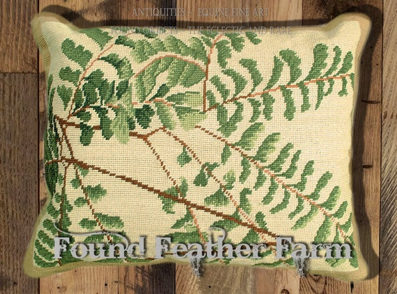 """Handmade Wool 20"""" x 16"""" Needlepoint Pillow of a Beautiful Forest Ferns with Down Fill"""
