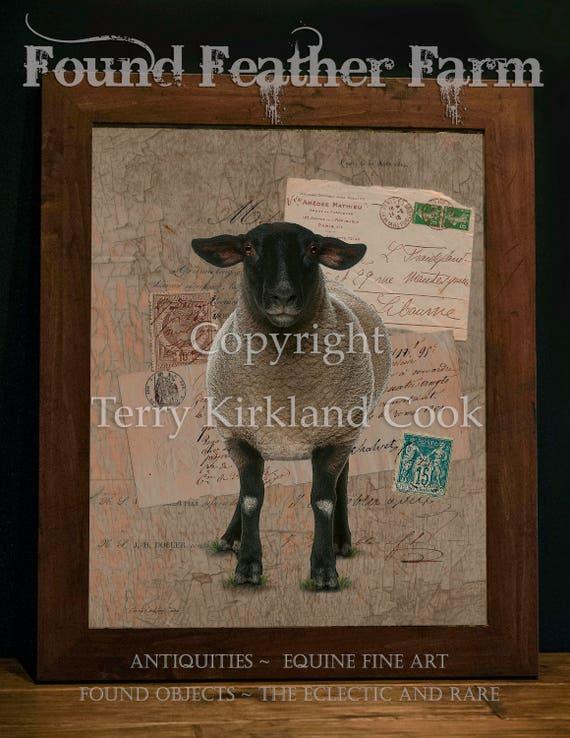 "Baa Baa Black Sheep ~ Original Vintage Art Collage 20"" x 24"" Framed Giclee Print"