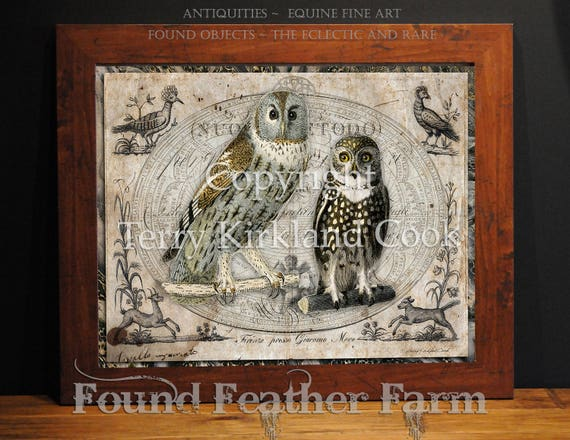 """The Two Hoots ~ Original Vintage Art Collage 20"""" x 24"""" Framed Giclee Print"""