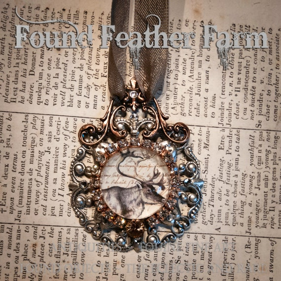 Handmade Embellished Glass and Silver and Copper Small Caribou Ornament with Taupe Organza Hanging Ribbon