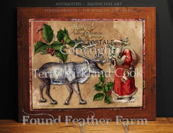 "Christmas Postcard ~ Original Vintage Art Collage 20"" x 24""Framed Giclee Print"