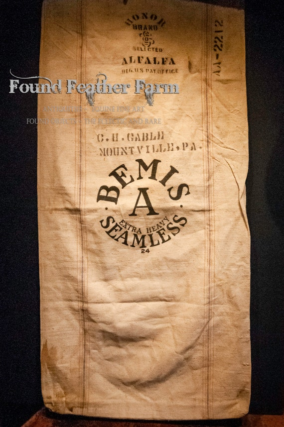Vintage Bemis Alfalfa Grain Sack from the 1950's