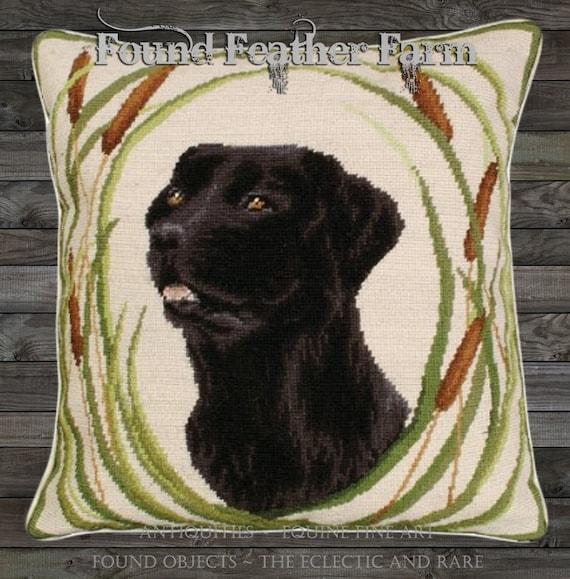 "Handmade Wool 18"" x 18"" Needlepoint Pillow of an Black Labrador Retriever with Down Fill"