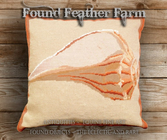 Handmade Needlepoint Pillow Featuring an Ocean Whelk Seashell with a Down Insert