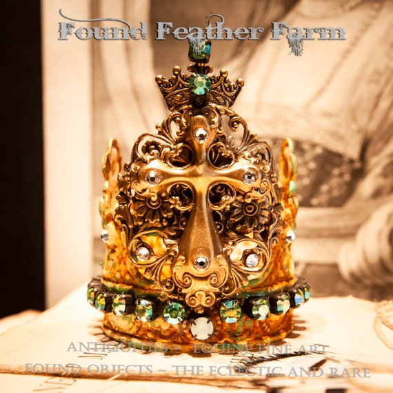 Handmade Painted Metal Crown with an Ornate Brass Cross and Sparkling Rhinestones