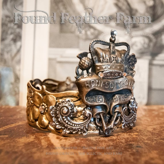 Handmade Ginger Brass Crown with Repousse Silver Findings and Brass Badge Pin