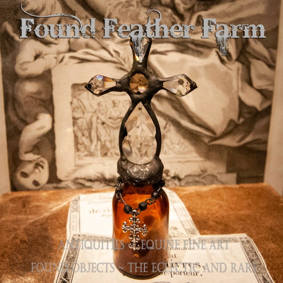 Handmade Glass Cross Bottle with an 1900's era Antique Amber Glass Bottle Base