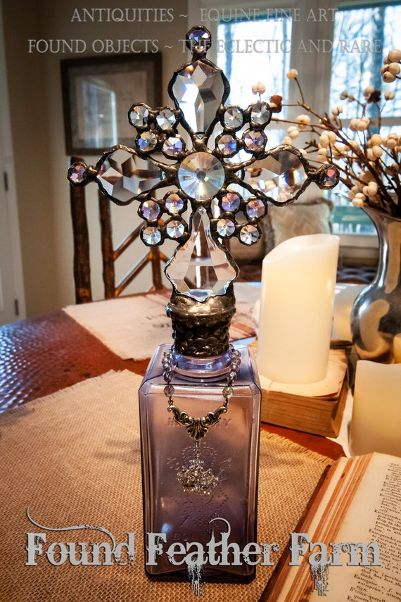Handmade Glass Cross Bottle with an 1890's era Antique Lavender Glass Bottle Base