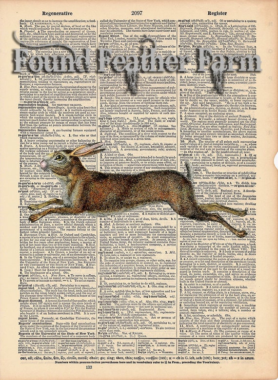 """Vintage Antique Dictionary Page with Antique Print """"Running Rabbit"""""""