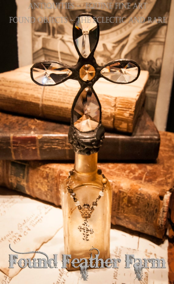 Handmade Glass Cross Bottle With an 1870's Antique Glass Bottle Base and Vintage European Crystals