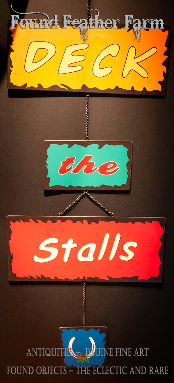 Clever Tin Deck The Stalls Holiday Barn Sign