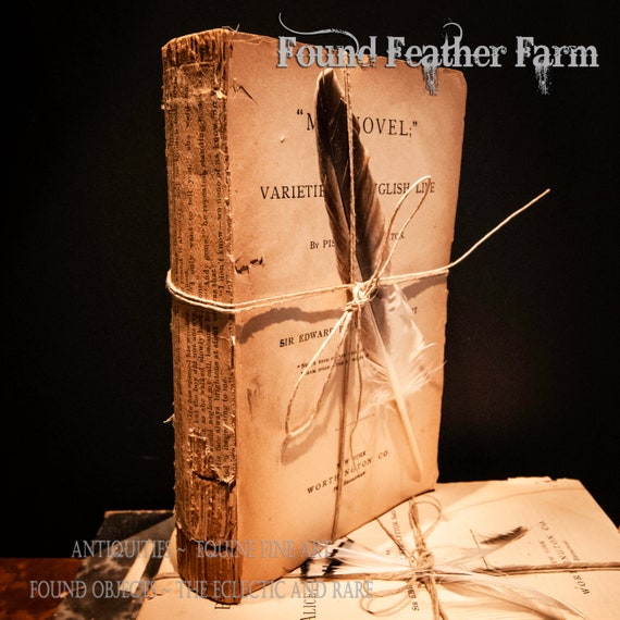 Vintage Deconstructed Circa 1838 Brown Parchment Book Pages Bound with Twine and Embellished With a Feather
