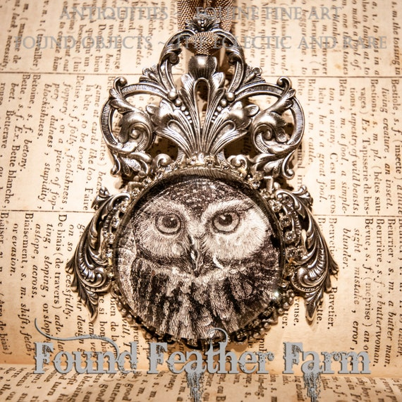Handmade Embellished Medium Ornament Featuring a Jeweled Glass Owl Cabochon Set On Layered Silver Detailing