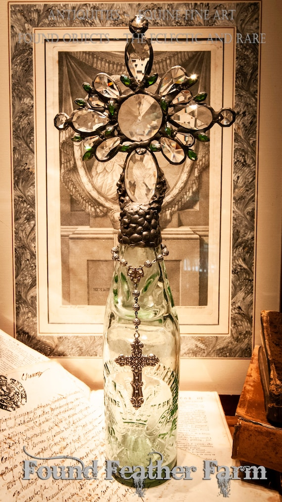 Handmade Glass Cross Bottle With a Rare 1870's Antique Glass Prince of Wales Codd Bottle Base and Vintage European Crystals