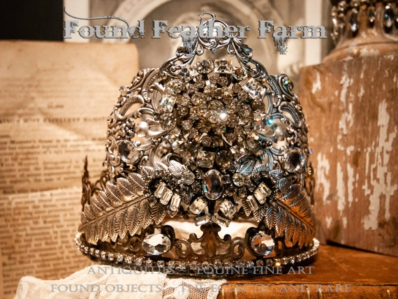 Spectacular Handmade Jeweled Crown with Pewter Silver Crest, Silver Leaves and Sparkling Vintage Rhinestones