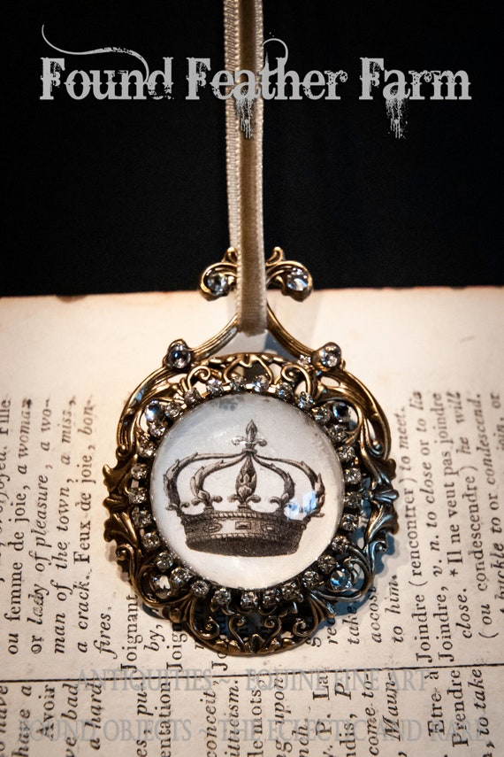Handmade Small Brass Ornament with a Jeweled Embellished Glass Cabochon Featuring an English Crown Image