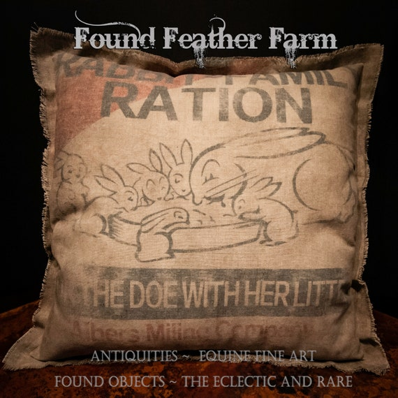 Vintage Handmade Reproduction Rabbit Family Ration Feed Sack Pillow
