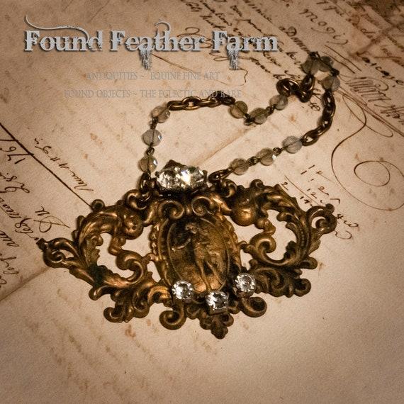 Vintage Brass Cherub Detail Ornament with Vintage Rhinestones and Glass Czech Bead Chain