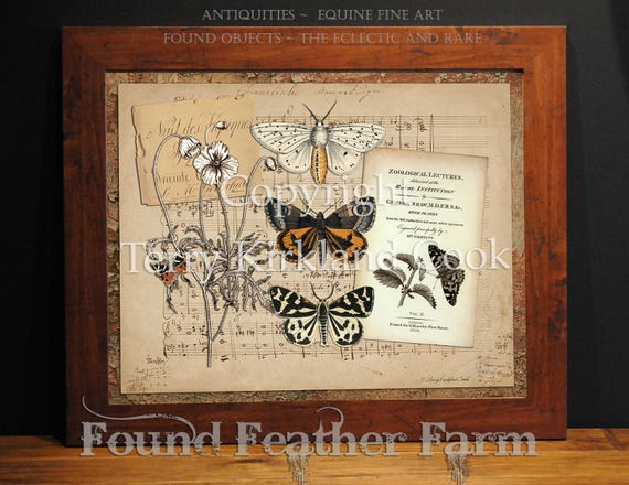 """Music of the Butterfly ~ Original Vintage Art Collage 20"""" x 24"""" Framed Giclee Print"""