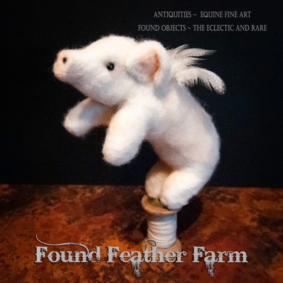 Adorable Handmade Felted Wool Flying Pig Standing on a Vintage Wooden Thread Spool