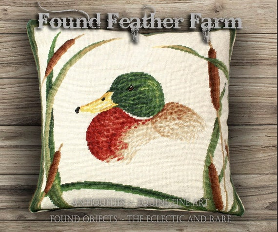 Handmade Needlepoint Pillow of a Mallard Duck Surrounded by Cattails and with a Down Insert