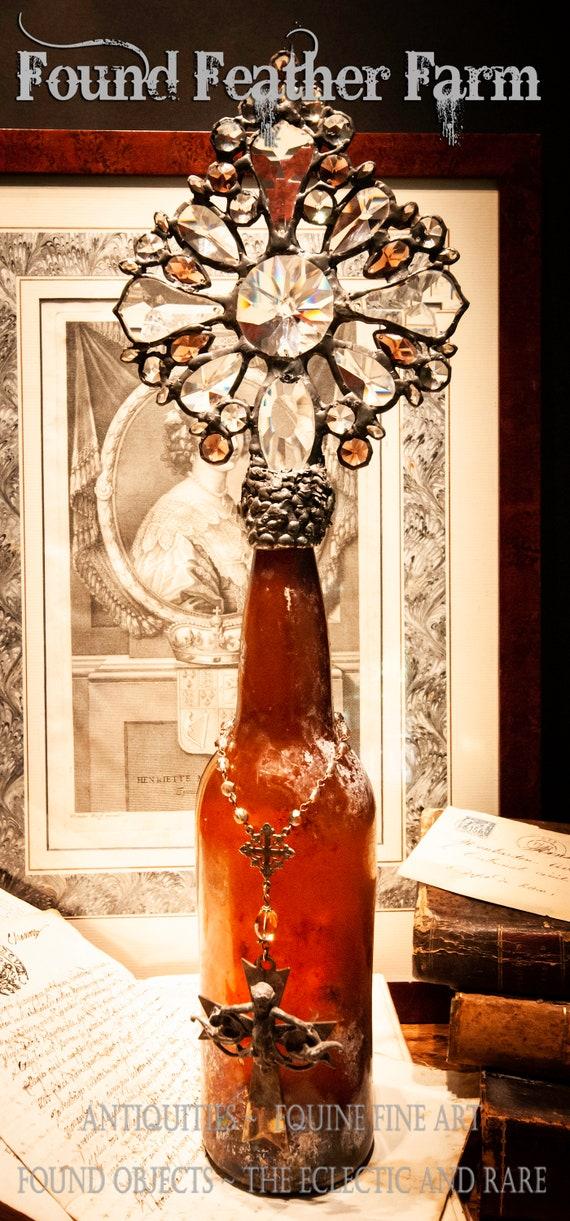 Handmade Stunning Glass Cross Bottle with an 1890's era Crusty Amber Antique Glass Bottle Base