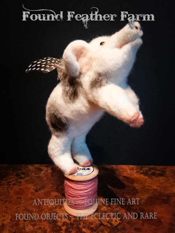 Adorable Handmade Needle Felted Spotted Flying Pig on a Vintage Wooden Thread Spool
