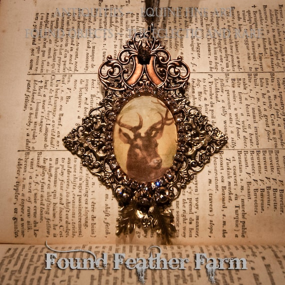 Handmade Brass and Copper Embellished Medium Vintage Deer Jeweled Ornament with Gold Hanging Ribbon