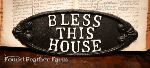 Vintage Inspired Iron Bless This House Plaque
