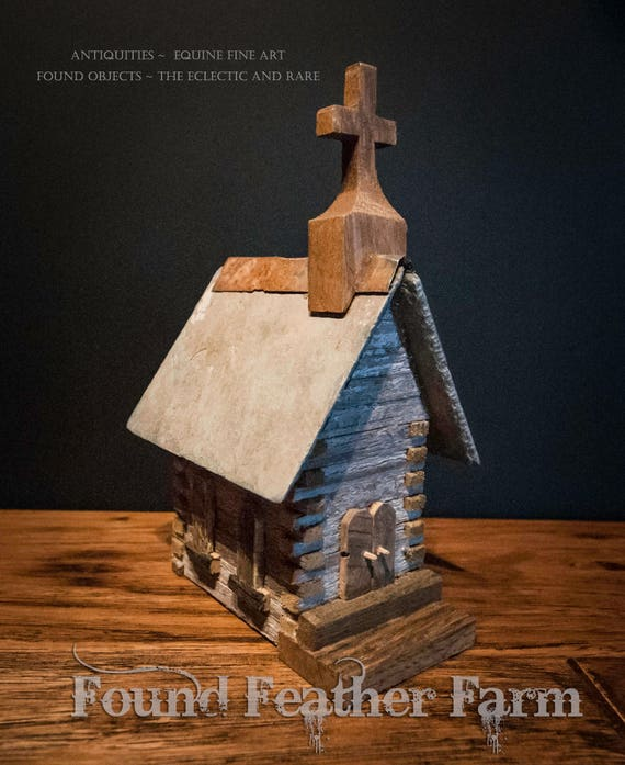 Handmade Vintage Primitive Log Church with Slate Roof