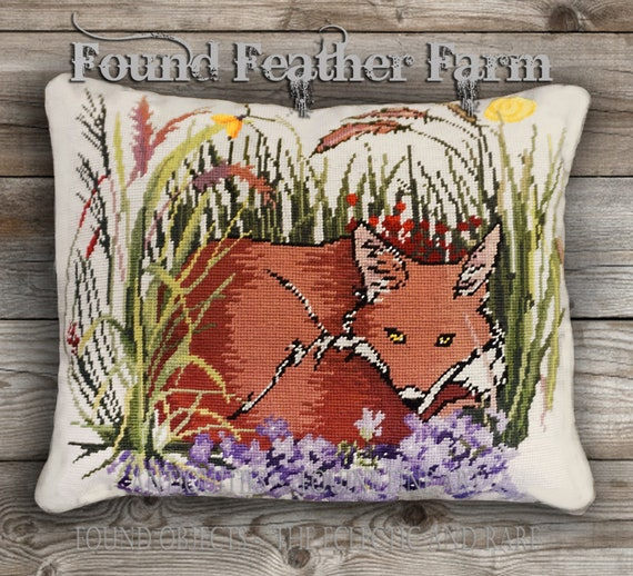 """Handmade Needlepoint Wool Pillow """"Fox in the Garden"""" with Goose Down Insert"""