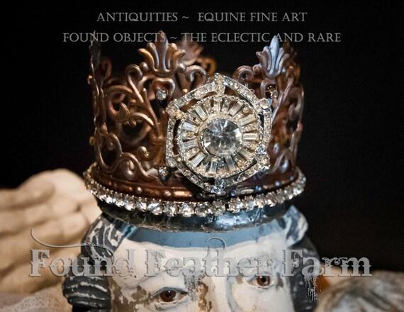 Fantastic Handmade Embellished Tin Crown with Sparkling Vintage Jewels