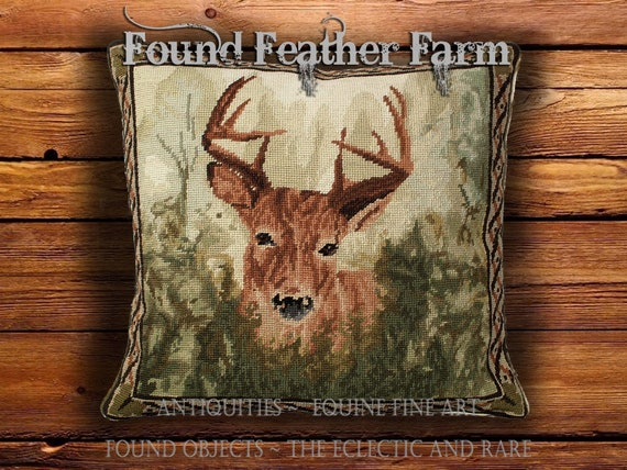 Handmade Needlepoint Pillow of a Deer in the Forest with a Down Insert