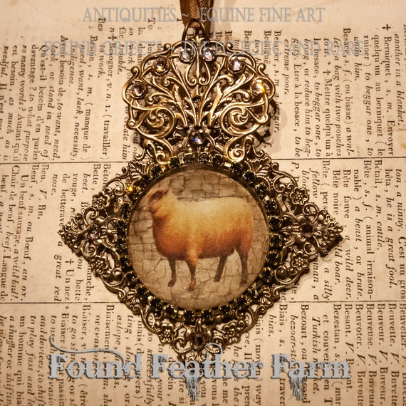 Handmade Embellished Medium Glass English Sheep Ornament with Gold Ribbon and Magnet