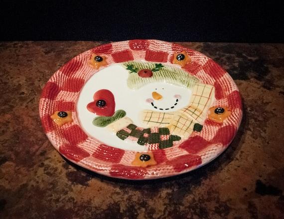 Vintage Winter Snowman Plate