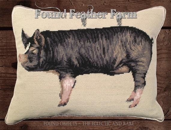 "Handmade Wool 20"" x 16"" Needlepoint Pillow of an English Berkshire Pig with Down Fill"