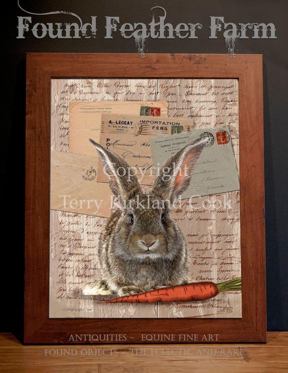 "Honey Bunny ~ Original Vintage Art Collage 20"" x 24"" Framed Giclee Print"