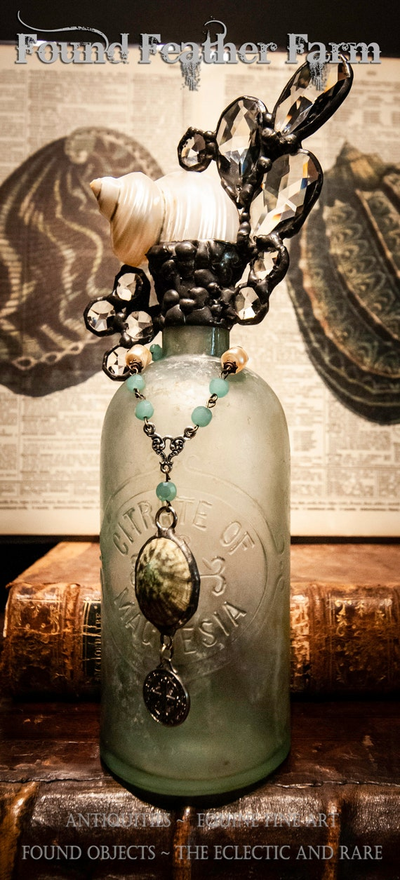 """Reserved for Brenda ~ Handmade Seashell Cross Bottle with an Antique 1880 Chalky Seafoam Glass Bottle From the """"Ocean Collection"""""""