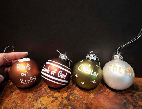 Set of Four 'Names of Jesus' Silver Top Sparkle Holiday Ball Ornaments